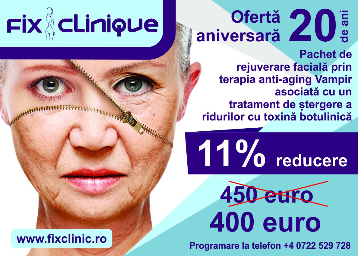 pachetul de rejuverare facială prin terapia anti-aging Vampir asociată cu un tratament de ștergere a ridurilor cu toxină botulinică