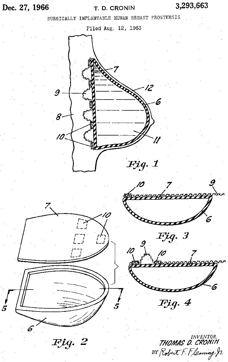 Proteză mamară implantabilă chirurgical, patentată în 1966 de Thomas D. Cronin